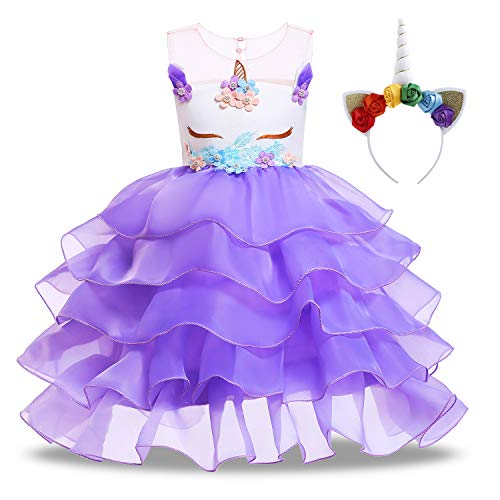 (KABETY Baby Girl Unicorn Costume Pageant Flower Princess Party Dress with Headband (140cm, Ruffles)