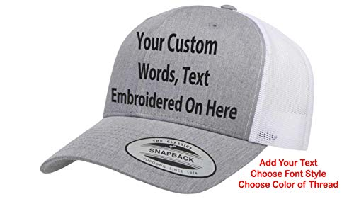 Custom Trucker Hat Yupoong 6606 Embroidered Your Own Text Curved Bill Snapback (Heather/White)