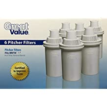Great Value Water Pitcher Filters, 6-pack, Compare to Brita Pitcher Filters