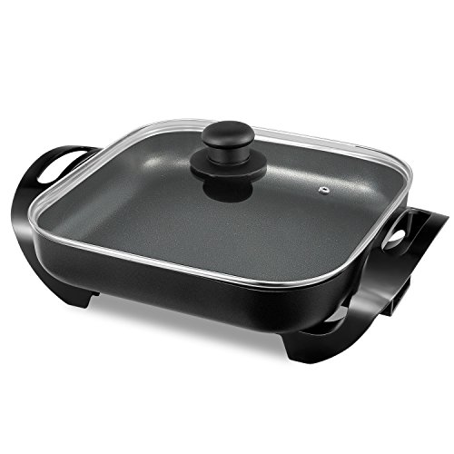 efluky Multifunctional 12 inch Electric Skillet with a Nonstick Surface for Cooking Anything from Breakfast to Dinner, 12 * 12 * 2 inch, 1400W, Black, GD-1212 by efluky (Image #8)