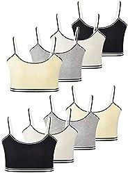 MANJIAMEI 8 Pack Girls Cotton Cami Crop Traning Bras Beginner Bras for Girls