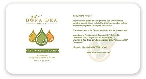 All Natural Feminine Spray | Treats Symptoms of Yeast Infections & BV Fast! | 100% Yoni All-Oil Blend Made with Tea Tree, Calendula, Echinacea, Palmarosa, Orange, Lemongrass Essential Oils by Bona Dea Naturals (Image #1)'