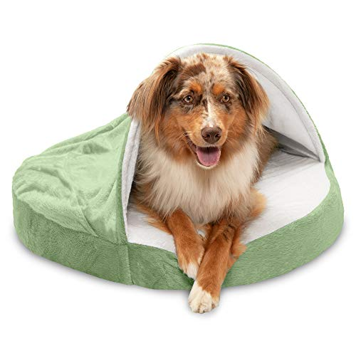 Furhaven Dog Bed | Orthopedic Round Cuddle Nest Micro Velvet Snuggery Burrow Pet Bed for Dogs & Cats, Sage, 26-Inch