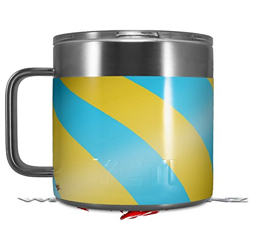 Skin Decal Wrap for Yeti Coffee Mug 14oz Two Tone Waves Yellow Teal - 14 oz CUP NOT INCLUDED by WraptorSkinz