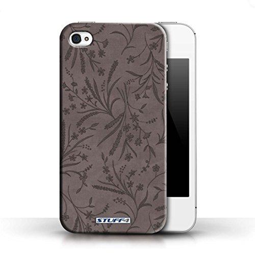 Etui pour Apple iPhone 4/4S / Gris conception / Collection de Motif floral blé
