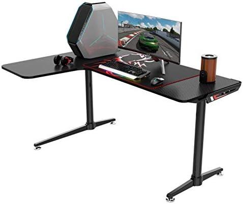 EUREKA ERGONOMIC L60 Gaming Desk 60″ X 43″ L Shaped Large Computer Workstation PC Gamer Desk