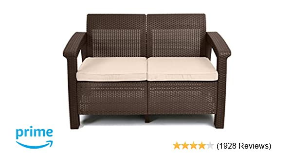 Amazon.com : Keter Corfu Love Seat All Weather Outdoor Patio Garden ...