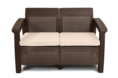 (Keter Corfu Love Seat All Weather Outdoor Patio Garden Furniture w/ Cushions, Brown)