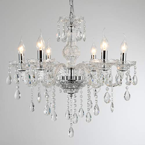 YYSHCHEN Crystal Glass Chandelier 6 Lights Clear Pendant Ceiling Lighting Classic Vintage Candle Chandeliers for Dining Living Room Decoration Fixture