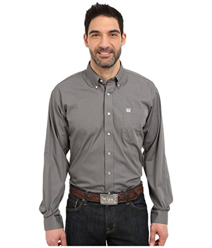 Cinch Men's Classic Fit Long Sleeve Button One Open Pocket Solid Basic Shirt, Grey, Large