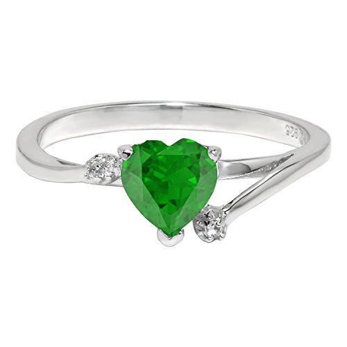 .60 Ct Heart Green Emerald and White Topaz 925 Sterling Silver Ring Size 8