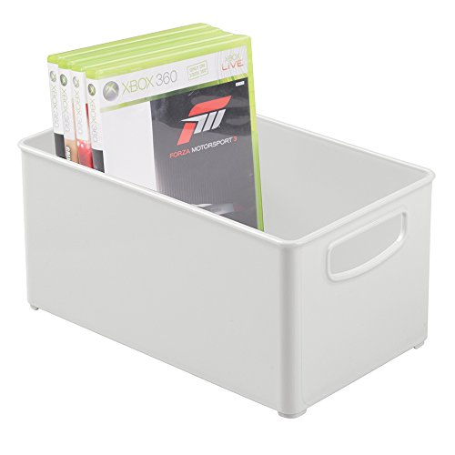 mDesign Stackable Household Storage Organizer Container Bin for DVDs, PS4, Nintendo and Xbox Video Games, Controllers and Head Sets - Medium, Light Gray