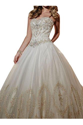 Steine Damen Ivydressing Duchesse Herzform Brautkleid Hochzeitskleid Romantisch Linie Elfenbein THXHqw