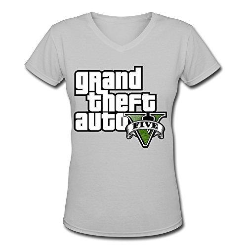 Price comparison product image ZhiXiong Womens V-Neck Cotton Grand Theft Auto V Tshirts