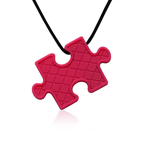 Puzzle Pendant Duo - Silicone Necklaces (Teething, Nursing, Sensory) (Fuchsia Pink/Plum Purple) by Siliconies (Image #1)