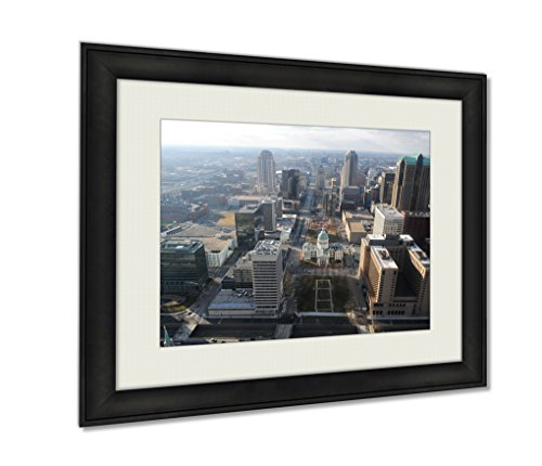 Ebony Arch Top (Ashley Framed Prints, City Of Saint Louis Missouri View Of Downtown Seen From The Top Of The Arch, Wall Art Decor Giclee Photo Print In Black Wood Frame, Ready to hang, 16x20 Art, AG6545587)