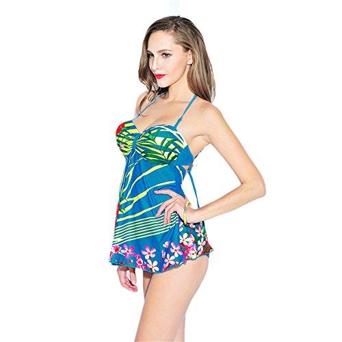 COCO clothing Las Mujeres Dos Piezas Océano Azul Estampado Acolchado Bra Tankini Conjuntos Push Up Traje de Baño Cuello Halter Bañadores de Playa