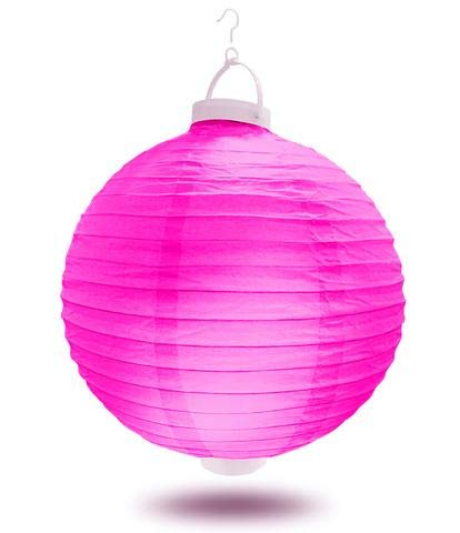 12 Inch Fuchsia Battery Operated Led Paper - Lanterns Rice Eyelet Paper
