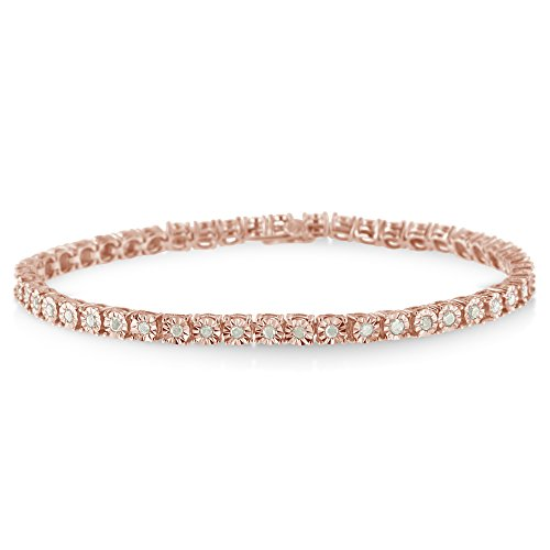 Diamond Womens Tennis Bracelet - 10k Rose Plated Gold Sterling Silver Rose Cut Diamond Miracle Tennis Bracelet (1 cttw, I-J Color, I3 Clarity)