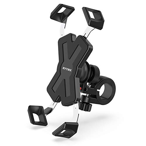 Bike Phone Mount - RYYMX Bicycle Phone Holder : 360° Rotation Adjustable Motorcycle Phone Mount for iPhone Xs Max XR X 8 7 6Plus, Samsung S10+ S9 S8 Note 10 9 8, GPS and 4-7 inches Android Cell Phones