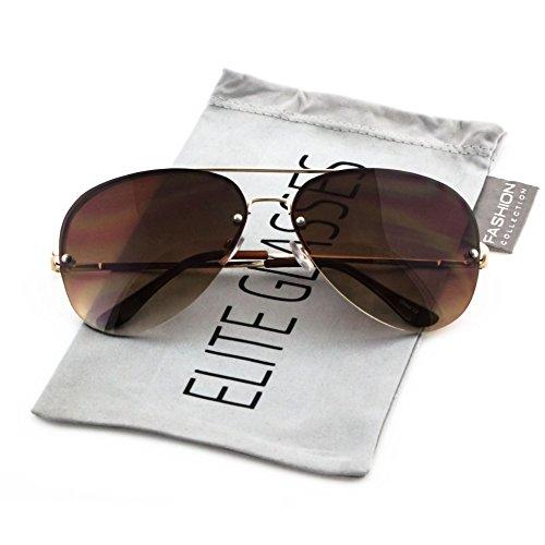 Elite Gradient Oceanic Lens Oversized Rimless Metal Frame Unisex Aviator Sunglasses (Gold Frame/Brown Lens, - Metal Gradient