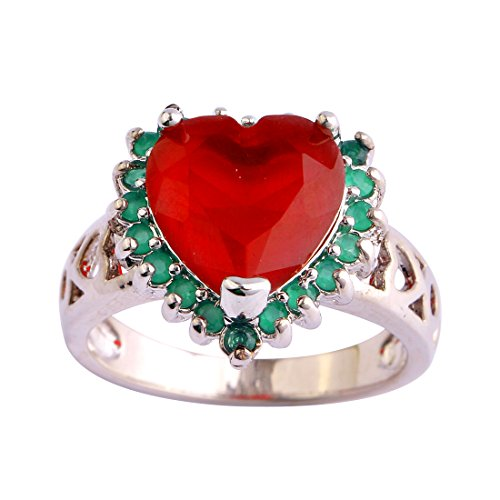 Narica Womens Brilliant Heart Shaped Ruby Engagement Cocktail Ring