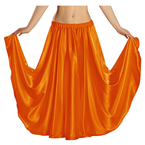Indian Trendy Women's Satin Full Circle Swing Halloween Belly Dance Tribal Skirt One Size: 36