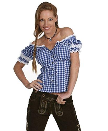Wunderschöne Damen Trachten Bluse in 5 Farben Gr. XS-XXL Deutscher Hersteller (S, blau)