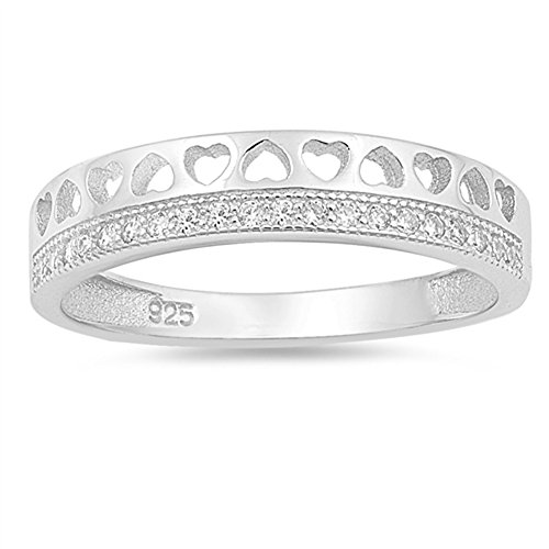 Clear CZ Cutout Heart Tiara Purity Ring New .925 Sterling Silver Band Size 6