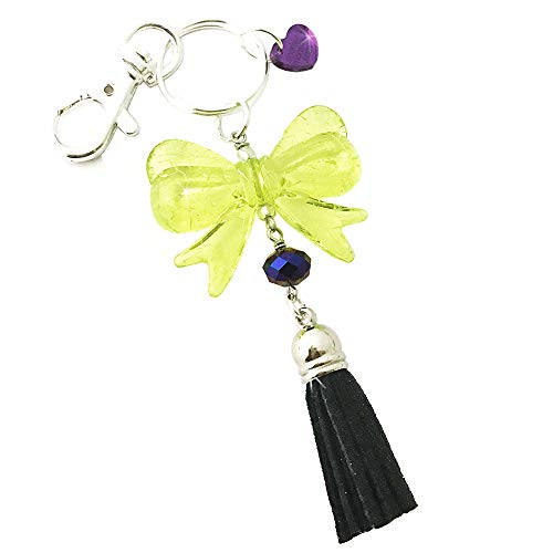 (Large Green Bow and Black Tassel Keychain with Lobster Claw)