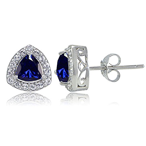 Sterling Silver Created Blue Sapphire & White Topaz Trillion-Cut Stud ()