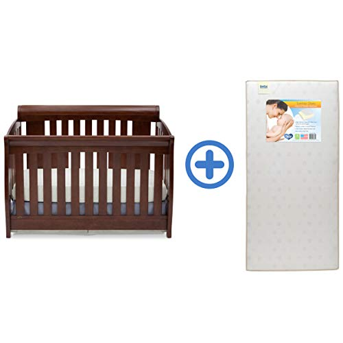 Delta Children Clermont 4-in-1 Convertible Baby Crib Twinkle Stars Waterproof Fiber Core Crib and Toddler Mattre