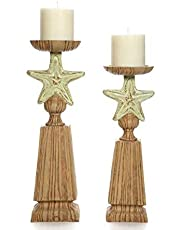 """Hosley Set of 2 Nautical LED Candle Pillar Holder, 14"""" & 12"""" High, Resin. Ideal Gifts for Den, Dorm, Wedding, Party, Home/Office, Spa, Aromatherapy, Pillar/Votive Candle Gardens P2"""