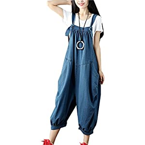 Flygo Women's Loose Baggy Cotton Wide Leg Jumpsuits Rompers Overalls Harem Pants