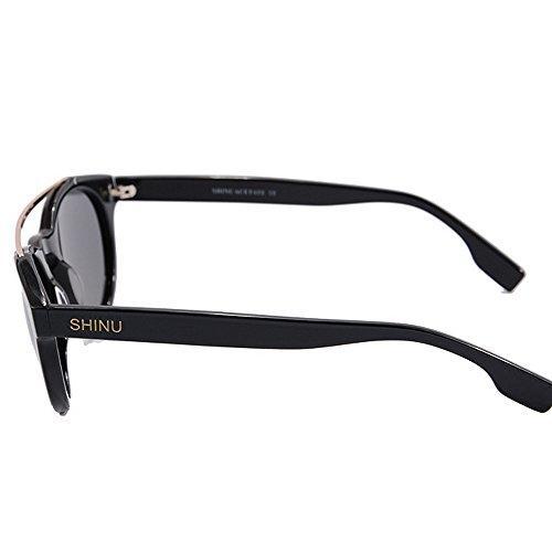 Gafas de Marco los Gato de de Fibra de de Playa Simple Acetato Nylon de en Sol Peggy de Gu Sol Gafas Ojos la Estilo Hombres del Libre UV Protección Vacaciones Negro Aire Conducción Lente al PwqHX5Oa