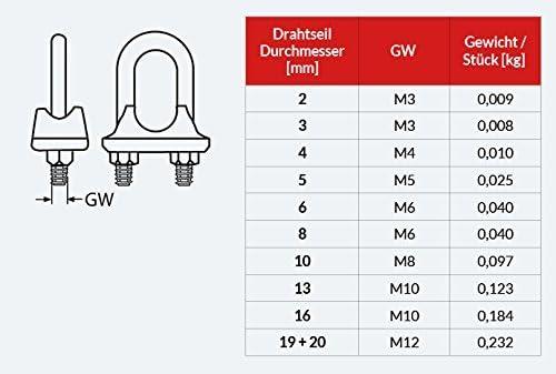 15m DRAHTSEIL EDELSTAHLSEIL SET 4mm 7x19 4 B/ügel 4mm V4A Stahlseil Inox VA Seil Edelstahl Rostfrei Klemmen Klemme