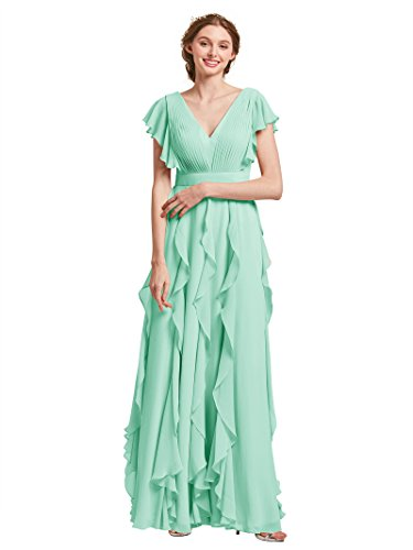 - AW Bridal Plus Size Bridesmaid Dresses for Women Formal Dresses with Sleeves Chiffon Long Gowns and Evening Dresses, Mint Green, US24