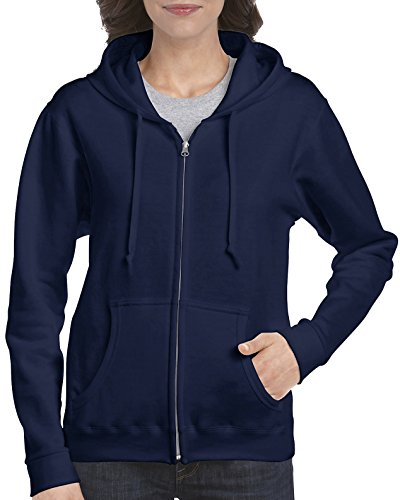 (Gildan Women's Full Zip Hooded Sweatshirt, Navy,)