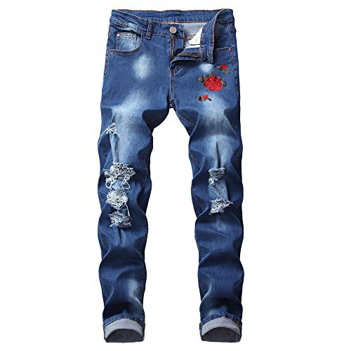 NUWFOR Men's Embroidered Jeans Fashion Pure Color Zipper Trousers Pant(Blue,US:38/AS:XXXXL Waist:40.2″)