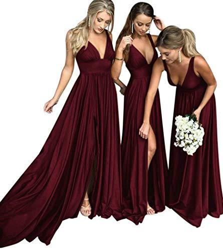 MARSEN Bridesmaid Dress V Neck Backless 2018 Women Formal Empire Waist Prom Gown with Silt Burgundy Size ()