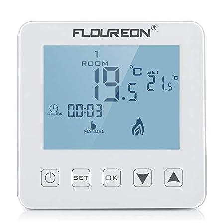 FLOUREON - Termostato 16 A Termostato de Pared Pantalla LCD ...