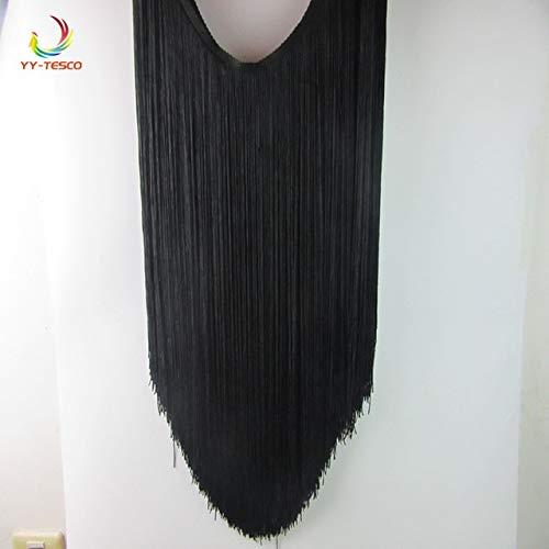 Laliva 5 Yard/lot 50CM Long Polyester Fringe Trim African Tassel Ribbon Lace Accessory Sew Latin Dress Garment Curtain DIY Accessories - (Color: Black) - Tassel Black Fabric