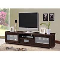 Wholesale Interiors Baxton Studio Gerhardine Wood TV Cabinet with 2 Sliding Doors and Drawer, 70, Dark Brown