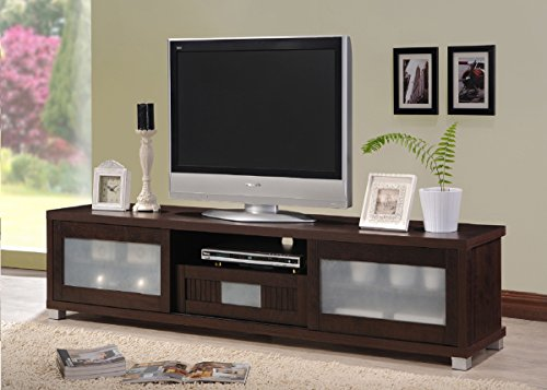 Wholesale Interiors Baxton Studio Gerhardine Wood TV Cabinet with 2 Sliding Doors and Drawer, 70″, Dark Brown
