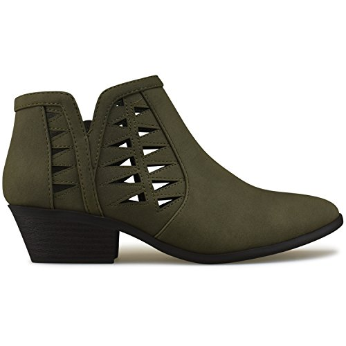 Standard Block Premier Khaki Chunky Perforated Boots Bootie Stacked Ankle Cutout Heel Women's 1dwxOwf