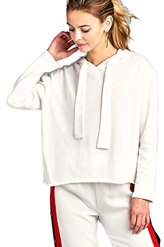 TOP LEGGING TL Women's Casual Long Sleeve French Terry Sweatshirt Hoodie With Pocket T3347 Offwhite S (Hooded Top Terry)