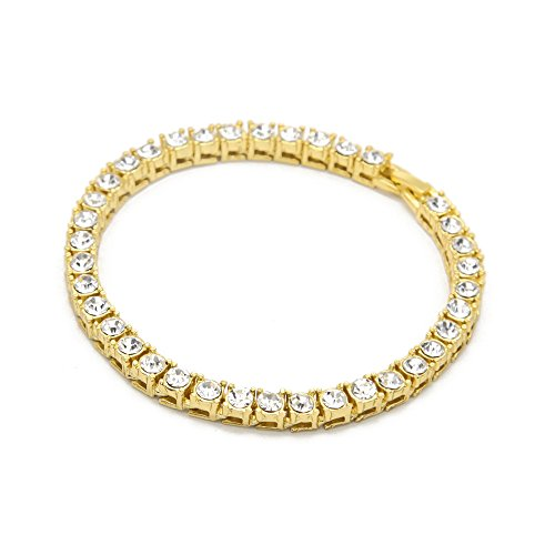 AOVR Hot Hip Hop CUBAN LINK CZ CRYSTAL Gold Silver Plated 5.5mm Fully Iced-Out Chain Bracelet (Gold)