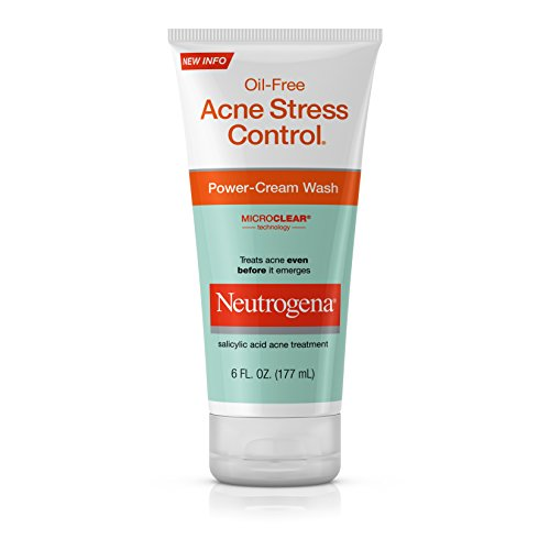 Neutrogena Oil-Free Acne Stress Control Power-Cream Face Wash, Salicylic Acid Acne Treatment for Acne-Prone Skin, 6 fl. oz