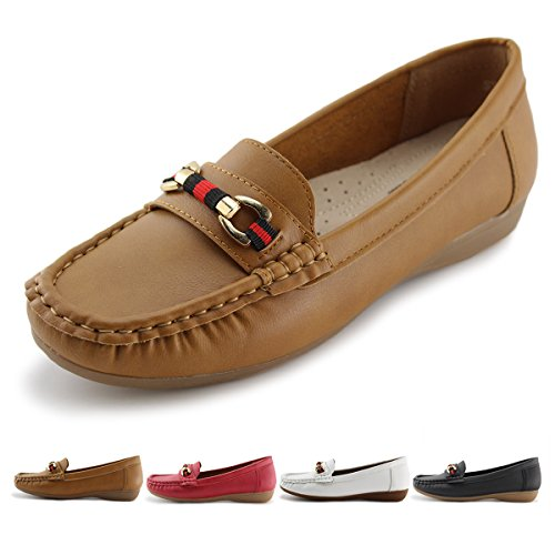JABASIC Women's Slip-on Loafers Flat Casual Driving Shoes(5, Brown-1)