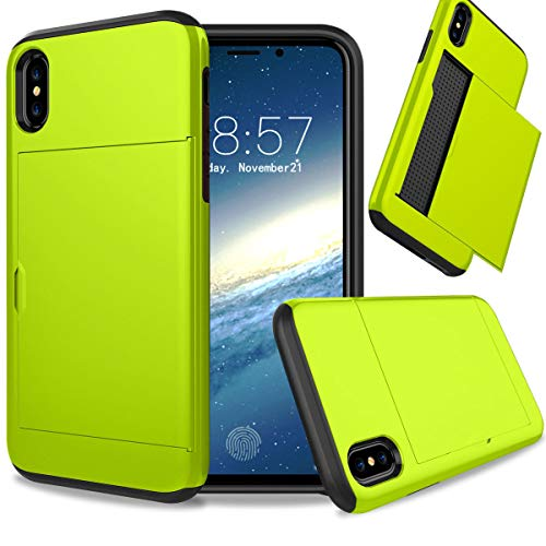 FastSun iPhone XS case, Hybrid Anti-Scratch Anti-Drop Shock Absorption Card Pocket Wallet Card Slot Heavy Duty Protection Protective Shell Rubber Bumper case for iPhone XS (Neon Green) (Case Green Iphone 4 Neon)